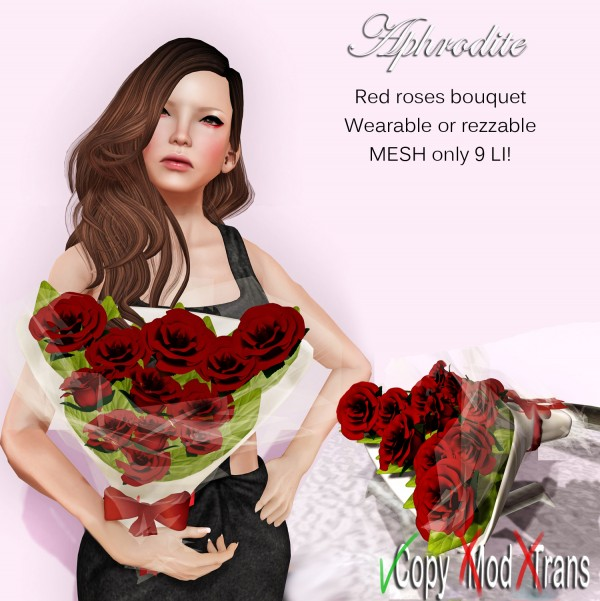 Aphrodite red roses bouquet for her