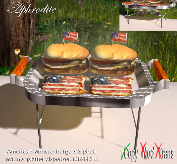 Aphrodite 4th july American burgers & pizza warmer platter