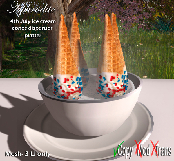 Aphrodite 4th july ice cream cones platter