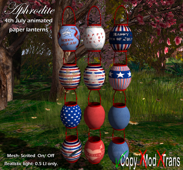 Aphrodite 4th july outdoors lanterns