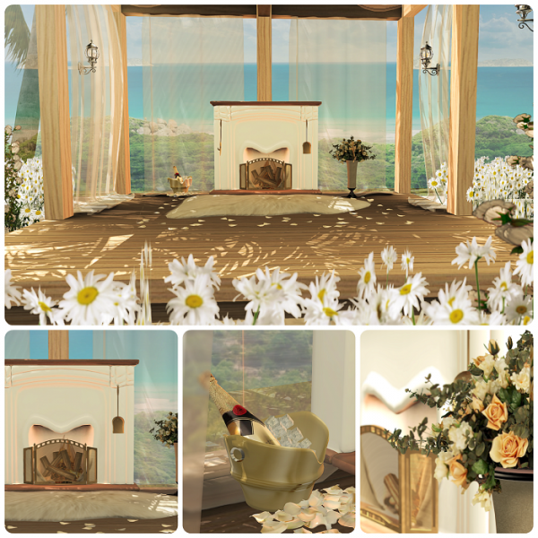 White Roses Fireplace Collage