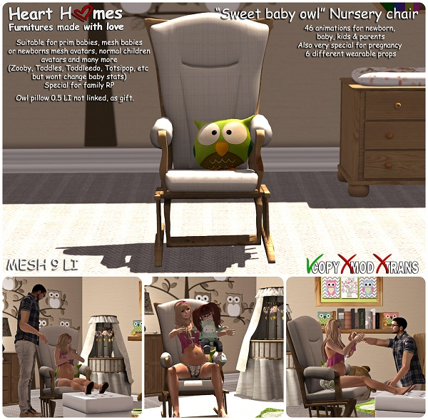 My sweet baby owl animated nursery chair