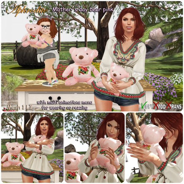 Aphrodite mothers day bear pink