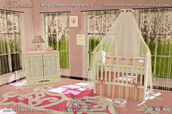Aphrodite baby princess crib set