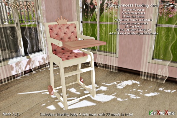 Aphrodite baby princess feeding chair